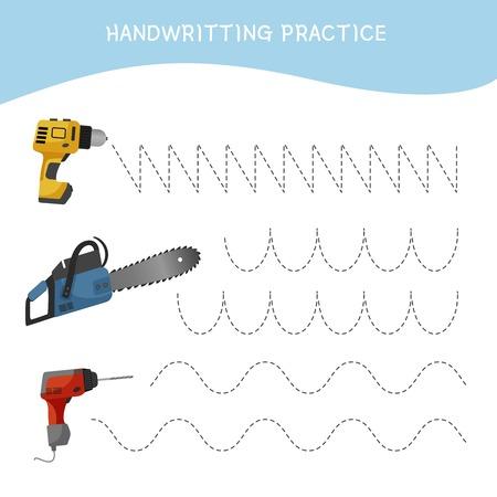 Handwriting practice sheet. Basic writing. Educational game for children. Cartoon instruments.