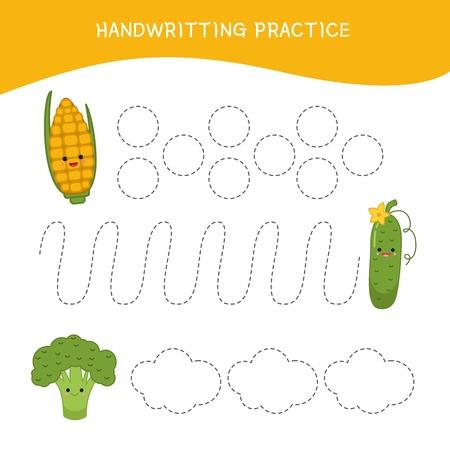 Foglio di pratica della scrittura a mano. Scrittura di base. Gioco educativo per bambini. Verdure del fumetto.