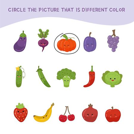 Educational children game. Kids activity sheet, Circle the picture that is different color. 向量圖像