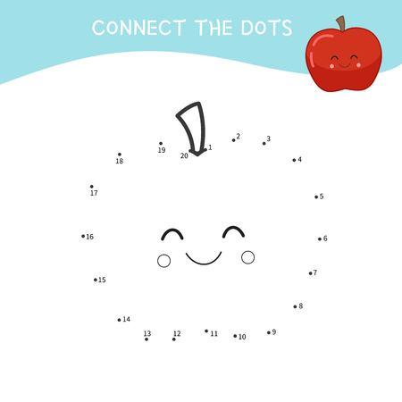 Educational game for kids. Dot to dot game for children. Cartoon apple.