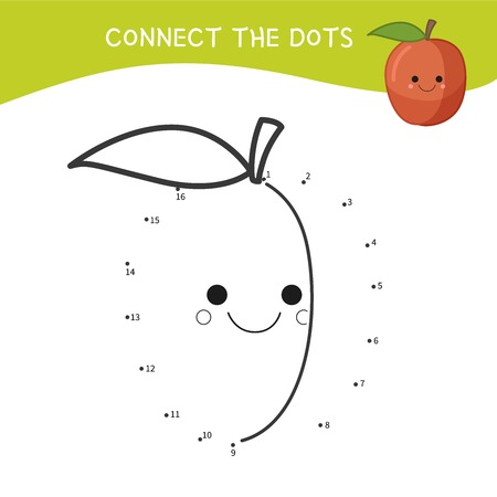 Educational game for kids. Dot to dot game for children. Cartoon peach.