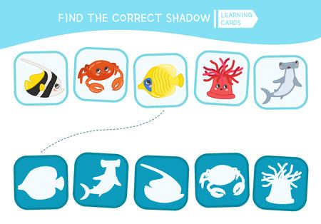 Educational  game for children. Find the right shadow. Kids activity with cartoon fish.