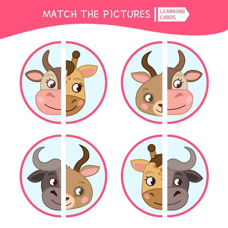 Matching children educational game. Match parts of cartoon animals. Activity for pre shool years kids and toddlers. Illustration