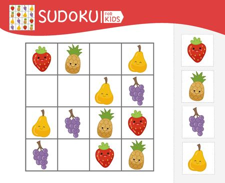 Sudoku game for children with pictures. Kids activity sheet. Cartoon fruits.