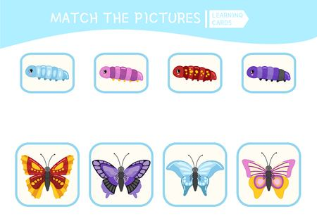 Matching children educational game. Match parts of caterpillars and butterflies . Activity for pre shool years kids and toddlers. Illustration