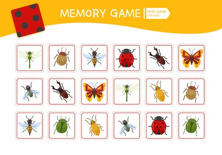 Memory game for preschool children, vector cards with cartoon insects. Find two identical picture. Kids activity page for book.