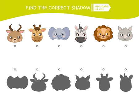 Educational  game for children. Find the right shadow. Kids activity with cartoon head of animals. Standard-Bild - 111871337