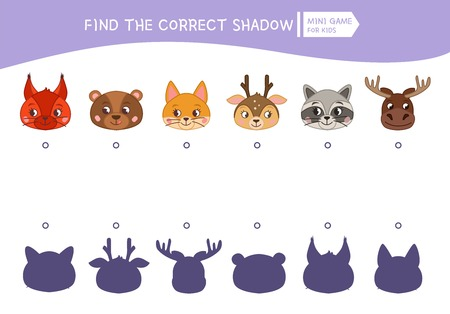 Educational  game for children. Find the right shadow. Kids activity with cartoon head of animals. Banque d'images - 111871338