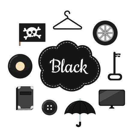 Aprenda los colores primarios. Negro. Diferentes objetos en color negro. Material educativo para niños y niños pequeños. Ilustración de vector