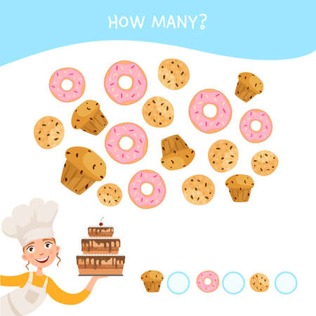 Counting educational children game, math kids activity sheet. How many objects task. Cartoon cute girl with cake..