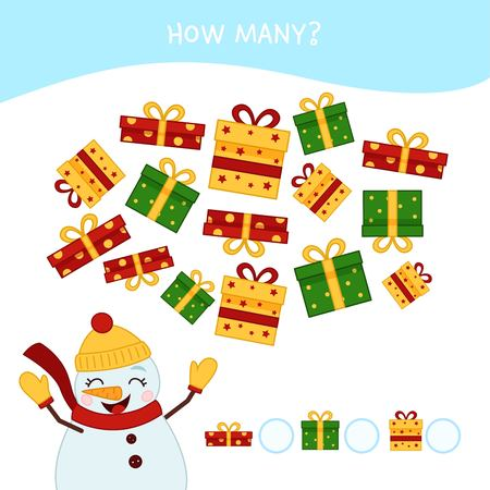 Counting educational children game, math kids activity sheet. How many objects task. Cartoon snowman. Christmas collection.
