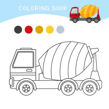 Coloring book for children. Cartoon concrete mixer.