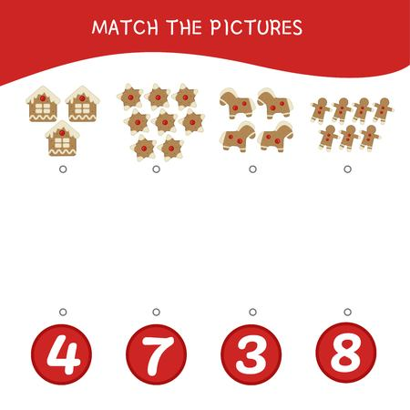 Counting educational children game, math kids activity sheet. How many objects task. Cartoon gingerbread.