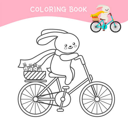 Coloring book for children. Cartoon cute hare on a bicycle. Illusztráció