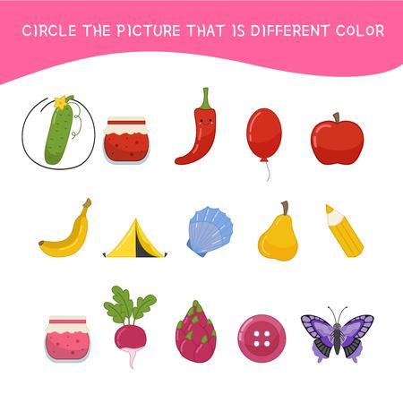 Juego educativo para niños. Hoja de actividades para niños, encierre en un círculo la imagen de diferente color.