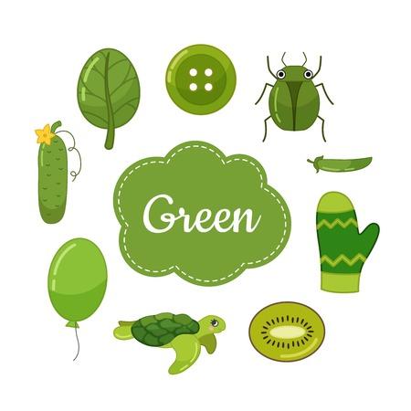 Aprenda los colores primarios. Verde. Diferentes objetos en color verde. Material educativo para niños y niños pequeños.