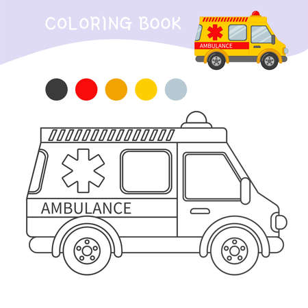 Coloring book for children. Cartoon ambulance.