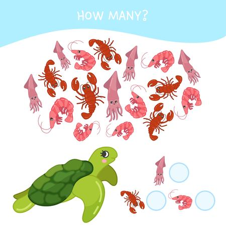 Counting educational children game, math kids activity sheet. How many objects task. Cartoon sea animals.