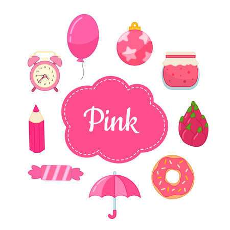 Learn the primary colors. Pink. Different objects in pink color. Educational material for children and toddlers. Illusztráció