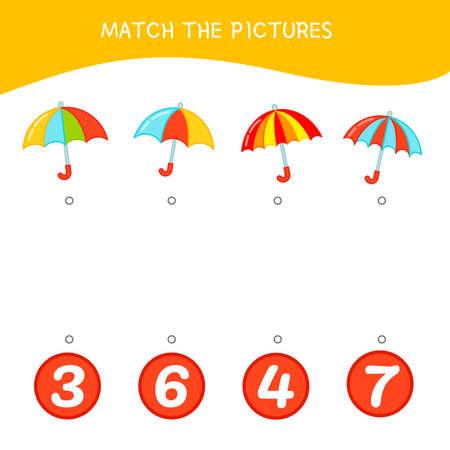 Counting educational children game, math kids activity sheet. How many objects task. Cartoon umbrella.