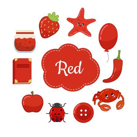 Aprenda los colores primarios. Rojo. Diferentes objetos en color rojo. Material educativo para niños y niños pequeños.