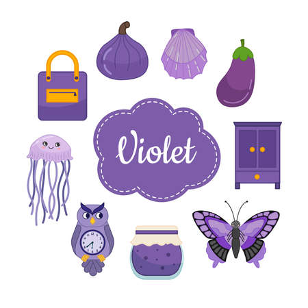 Learn the primary colors. Violet. Different objects in violet color. Educational material for children and toddlers.