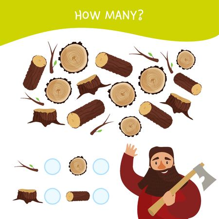 Counting educational children game, math kids activity sheet. How many objects task. Cartoon lumberjack.