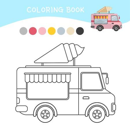 Coloring book for children. Cartoon ice cream truck. Illustration