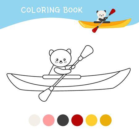 Coloring book for children. Cartoon kayak. Illustration