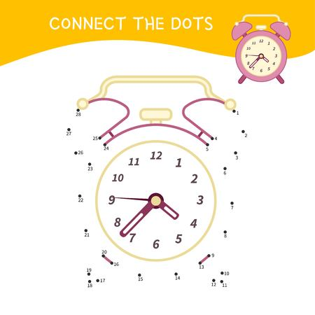 Educational game for kids. Dot to dot game for children. Cartoon alarm clock.