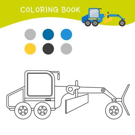 Coloring book for children. Cartoon grader. Illustration
