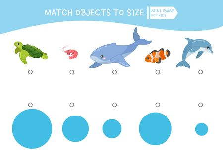 Matching children educational game. Match object to size. Activity for kids shod years and toddlers.