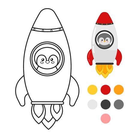 Coloring book for children. Cartoon rocket. Illustration