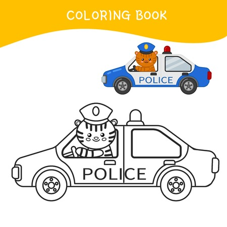 Coloring book for children. Cartoon police car.