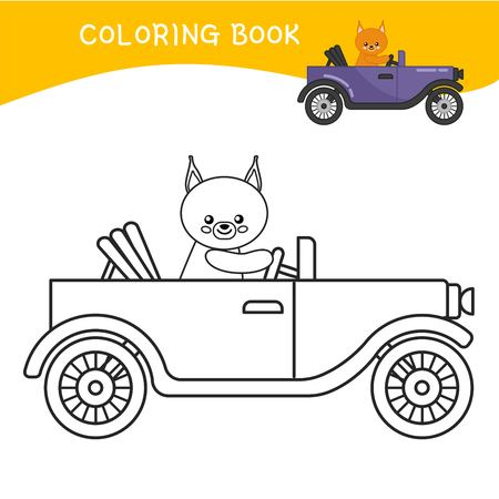 Coloring book for children. Cartoon old car.