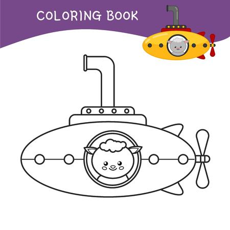 Coloring book for children. Cartoon submarine.