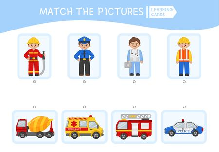 Matching children educational game. Match people and cars. Activity for pre shool years kids and toddlers. Illusztráció
