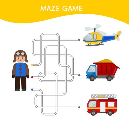 Maze game for children. Cartoon illustration of a pilot and cars.