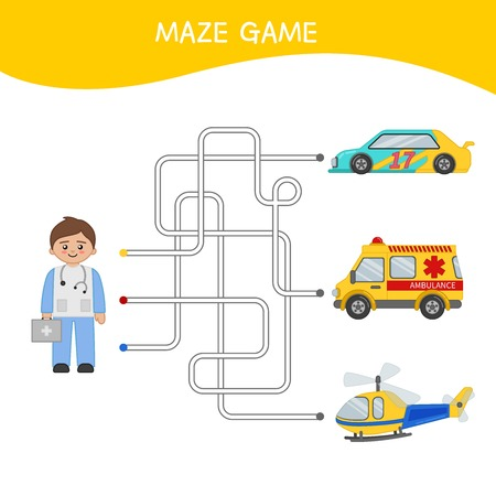 Maze game for children. Cartoon illustration of doctor and cars.