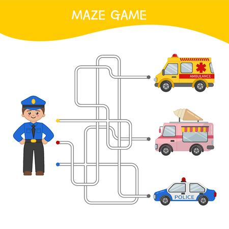 Maze game for children. Cartoon illustration of police man and cars.