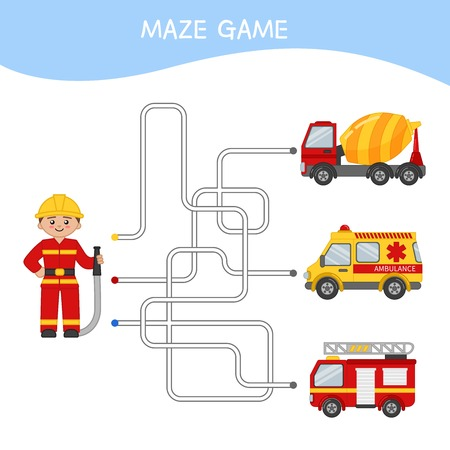 Maze game for children. Cartoon illustration of fireman and cars.