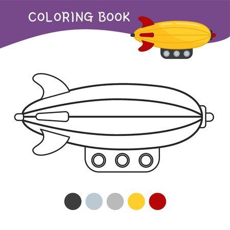 Coloring book for children. Cartoon zeppelin.