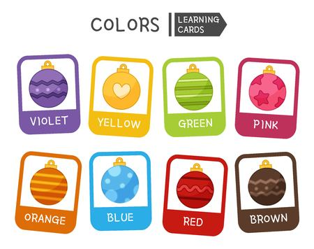 Learn the primary colors. Educational material for children and toddlers. Cartoon christmas balls of different colors. Illusztráció