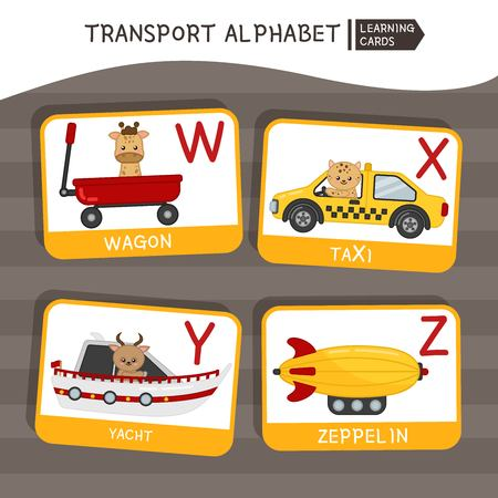Vector cute kids transport alphabet. Letter W-Z. Cute cartoon cars with animals. Ilustração