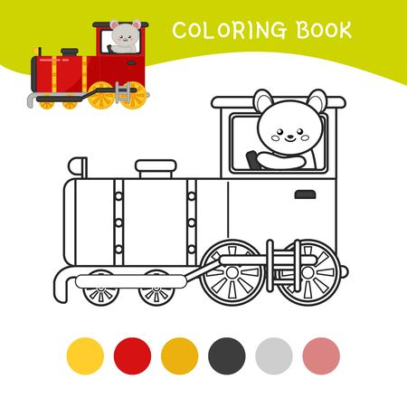 Coloring book for children. Cartoon kids train.