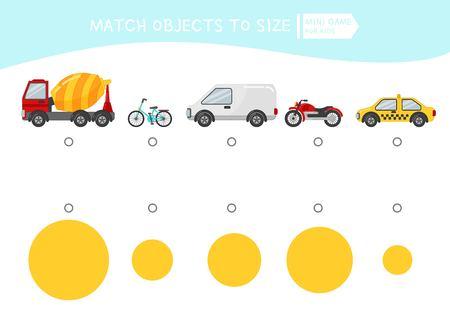 Juego educativo para niños a juego. Haga coincidir el objeto con el tamaño. Actividad para niños en edad preescolar y niños pequeños. Transporte de dibujos animados.