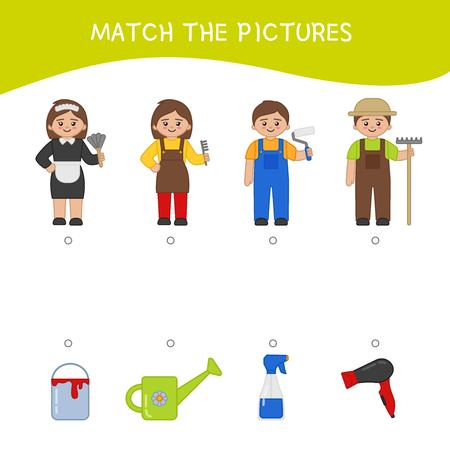 Matching children educational game. Match professions and objects.. Activity for pre shool years kids and toddlers.