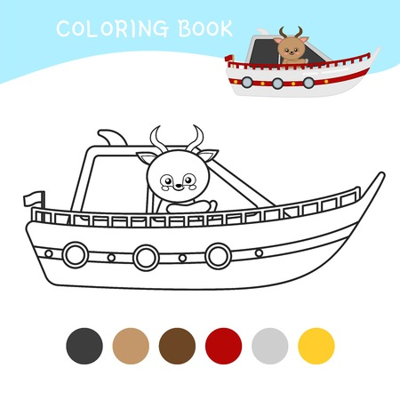 Coloring book for children. Cartoon kids yacht.