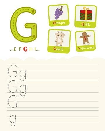 Handwriting practice sheet. Basic writing. Educational game for children. Learning the letters of the English alphabet. Cards with objects. Letter G. Illustration