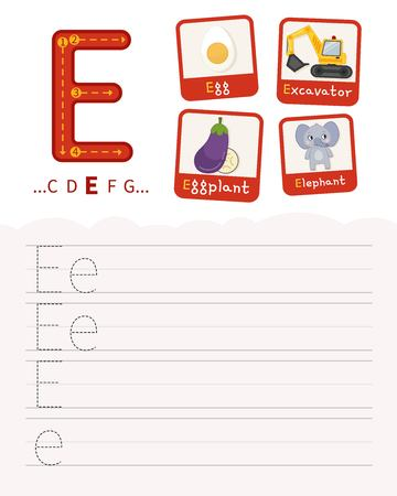 Handwriting practice sheet. Basic writing. Educational game for children. Learning the letters of the English alphabet. Cards with objects. Letter E. Illustration